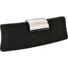 MG Collection Clutch bags -  Shimmering Rhinestone Clasp Long Hard Case Box Clutch Evening Bag Baguette Purse Minaudiere w/2 Shoulder Chain Straps Black