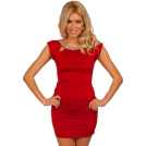 Hot from Hollywood Kleider -  Short Sleeve Fitted Style Rhinestone Scoop Neckline Design Mini Cocktail Dress