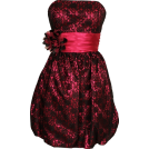 PacificPlex Vestiti -  Strapless Lace Overlay Satin Bubble Prom Dress Black-Fuchsia