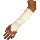 PacificPlex Luvas -  Stretch Satin Fingerless Gloves Forearm Length with Crystals