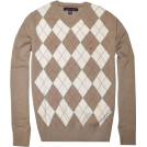 Tommy Hilfiger Jerseys -  TOMMY HILFIGER Mens Argyle V-Neck Plaid Knit Sweater Beige/White
