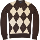 Tommy Hilfiger Пуловер -  TOMMY HILFIGER Mens Argyle V-Neck Plaid Knit Sweater Brown/Cream/Gray
