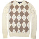 Tommy Hilfiger Пуловер -  TOMMY HILFIGER Mens Argyle V-Neck Plaid Knit Sweater Cream/Beige
