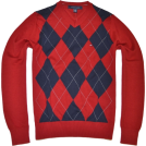 Tommy Hilfiger Пуловер -  TOMMY HILFIGER Mens Argyle V-Neck Plaid Knit Sweater Red/navy/gray