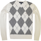 Tommy Hilfiger Puloverji -  TOMMY HILFIGER Mens Argyle V-Neck Plaid Knit Sweater White/Grey/Navy