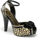 Pin Up Couture Sandals -  Tan Cheetah Print Ankle Strap Platform Sandal - 10