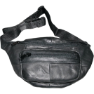 Buxton Torbe -  The Original Buxton Black Leather Bike Fannie Bag