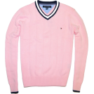 Tommy Hilfiger Pullovers -  Tommy Hilfiger Men Logo V-Neck Sweater Pink