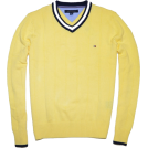 Tommy Hilfiger Pullovers -  Tommy Hilfiger Men Logo V-Neck Sweater Yellow