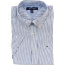 Tommy Hilfiger Shirts -  Tommy Hilfiger Men Striped Short Sleeve Logo Oxford Shirt White/Blue
