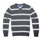 Tommy Hilfiger Pullovers -  Tommy Hilfiger Men V-neck Striped Logo Sweater Pullover Dark Grey/White