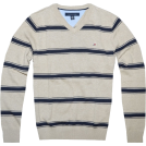 Tommy Hilfiger Pullovers -  Tommy Hilfiger Men V-neck Striped Logo Sweater Pullover Khaki/Navy
