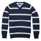 Tommy Hilfiger Pullovers -  Tommy Hilfiger Men V-neck Striped Logo Sweater Pullover Navy/White