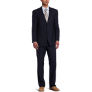 Tommy Hilfiger Suits -  Tommy Hilfiger Men's 2 Button Side Vent Trim Fit Plaid Suit with Flat Front Pant Blue