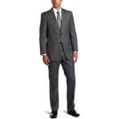 Tommy Hilfiger Suits -  Tommy Hilfiger Men's 2 Button Side Vent Trim Fit Solid Suit with Flat Front Pant Grey