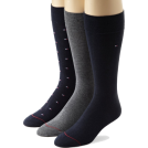 Tommy Hilfiger Underwear -  Tommy Hilfiger Men's 3 Pack Dress Logo Crew Socks Navy/flannel/navy