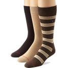 Tommy Hilfiger Underwear -  Tommy Hilfiger Men's 3 Pack Multi Stripe Crew Socks Coffee Bean/khaki