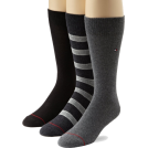 Tommy Hilfiger Underwear -  Tommy Hilfiger Men's 3 Pack Multi Stripe Crew Socks Graphite/flannel