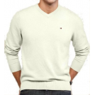 Tommy Hilfiger Pullovers -  Tommy Hilfiger Men's Ivory V-Neck Sweater Ivory