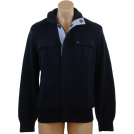 Tommy Hilfiger Cardigan -  Tommy Hilfiger Mens Button Front Cardigan Logo Sweater Navy