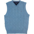 Tommy Hilfiger Vests -  Tommy Hilfiger Mens Cable Knit Logo Sweater Vest Blue