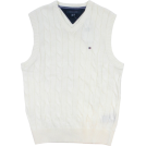 Tommy Hilfiger Vests -  Tommy Hilfiger Mens Cable Knit Logo Sweater Vest Cream