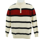Tommy Hilfiger Pullovers -  Tommy Hilfiger Quarter Zip Sweater Ivory/Red/Black