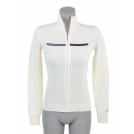 Tommy Hilfiger Cardigan -  Tommy Hilfiger Women Full Zip Logo Cardigan Sweater Off white