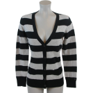 Tommy Hilfiger Cardigan -  Tommy Hilfiger Women Logo Striped Cardigan Sweater Black/Gray