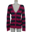 Tommy Hilfiger Cardigan -  Tommy Hilfiger Women Logo Striped Cardigan Sweater Burgundy/Black
