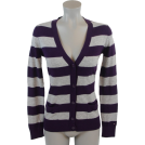 Tommy Hilfiger Cardigan -  Tommy Hilfiger Women Logo Striped Cardigan Sweater Purple/Gray