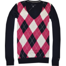 Tommy Hilfiger Pullovers -  Tommy Hilfiger Women Logo V-Neck Sweater Pullover Navy/strong pink/white