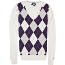 Tommy Hilfiger Pullovers -  Tommy Hilfiger Women Logo V-Neck Sweater Pullover White/strong purple/grey