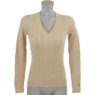 Tommy Hilfiger Pulôver -  Tommy Hilfiger Womens Cable Knit Cotton Logo Sweater Beige