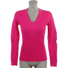 Tommy Hilfiger Pulôver -  Tommy Hilfiger Womens Cable Knit Cotton Logo Sweater Bright Pink