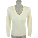 Tommy Hilfiger Пуловер -  Tommy Hilfiger Womens Cable Knit Cotton Logo Sweater Off white