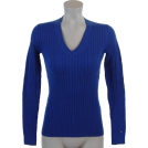 Tommy Hilfiger Pulôver -  Tommy Hilfiger Womens Cable Knit Cotton Logo Sweater Royal Blue