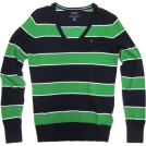 Tommy Hilfiger Maglioni -  Tommy Hilfiger Womens V-neck Sweater in Navy Blue and Green stripes (Ladies)