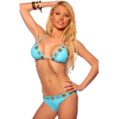 Hot from Hollywood Fato de banho -  Two Piece Crochet Trim Bikini Hot Summer Beach Sexy Low rise Brazilian Bikini Swim Suit Aqua Blue Crochet Trim