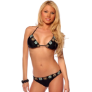 Hot from Hollywood Fato de banho -  Two Piece Crochet Trim Bikini Hot Summer Beach Sexy Low rise Brazilian Bikini Swim Suit Black Crochet Trim
