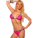 Hot from Hollywood Fato de banho -  Two Piece Crochet Trim Bikini Hot Summer Beach Sexy Low rise Brazilian Bikini Swim Suit Fuschia Crochet Trim