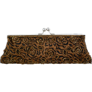 MG Collection Clutch bags -  Unforgettable Vintage Rose Pattern Handmade Beaded Baguette Evening Bag Clutch Handbag Purse w/2 Detachable Chains Brown