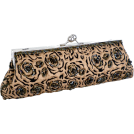 MG Collection Clutch bags -  Unforgettable Vintage Rose Pattern Handmade Beaded Baguette Evening Bag Clutch Handbag Purse w/2 Detachable Chains Champagne