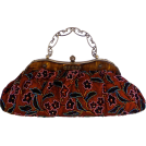 MG Collection Clutch bags -  Vintage Amber Plate Beaded Red Floral Clasp Purse Clutch Evening Handbag w/Detachable Chain