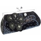 MG Collection Clutch bags -  Vintage Beaded Stones Flower Baguette Clutch Evening Handbag Purse Black