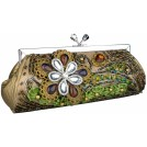 MG Collection Clutch bags -  Vintage Beaded Stones Flower Baguette Clutch Evening Handbag Purse Olive Green