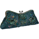 MG Collection Clutch bags -  Vintage Rhinestones Beaded Rosette Pattern Evening Handbag, Clasp Purse Clutch w/2 Detachable Chains Green