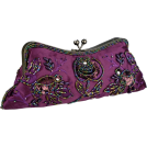 MG Collection Clutch bags -  Vintage Rhinestones Beaded Rosette Pattern Evening Handbag, Clasp Purse Clutch w/2 Detachable Chains Purple