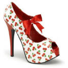 Pin Up Couture Sandals -  White Cherry Print Open Toe Mary Jane Pump - 6