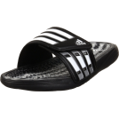 adidas Sandals -  adidas Men's Calissage Slide Black/White/Metallic Silver